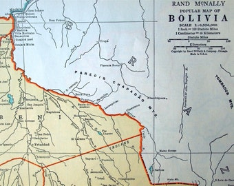 1937 Vintage Map of Bolivia - Old Map of Bolivia
