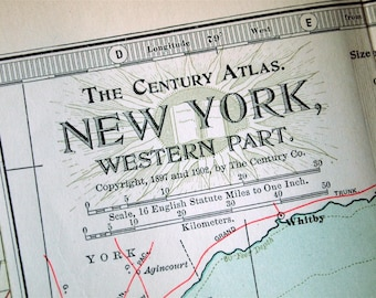 1902 Century Atlas Antique Map of the Western Part of New York