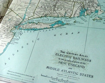 1911 Antique Map of Electric Railways in New England and Middle Atlantic US States - Century Atlas