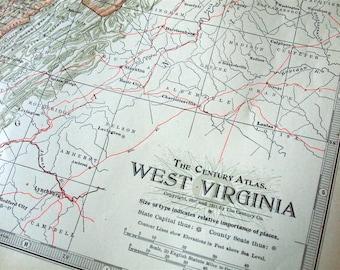 1911 Vintage Map of West Virginia - West Virginia Vintage Map - Century Atlas Map