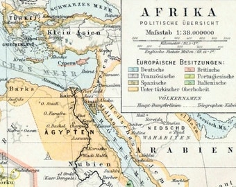 1895 Antique Map of Africa - Africa Antique Map - Political Overview - German Map - Antique Africa Map