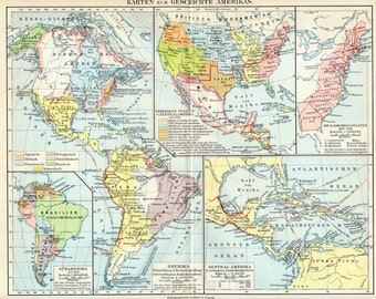 1894 German Antique Map of the History of the Americas