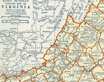 Map Of Virginia Etsy - Map or virginia