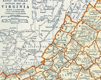 1937 Vintage Map of Virginia - Vintage Virginia Map - Virginia Vintage Map