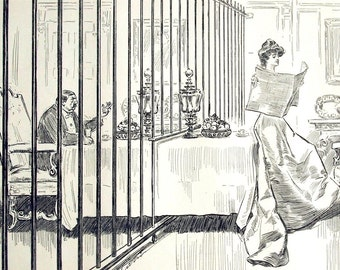 Gibson Girl - A Suggestion for Ill-Suited Couples - Humorous 1906 Antique Charles Dana Gibson Print