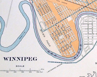 1915 Large Antique Street Map of Winnipeg, Manitoba, Canada