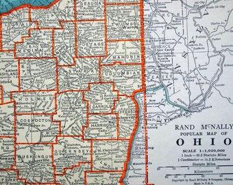 1937 Antique Map of Ohio - Ohio Antique Map - Antique Ohio Map
