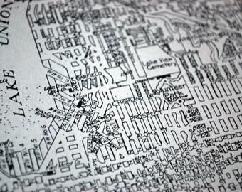 1937 Vintage Map of Seattle (Central), Washington - Vintage Seattle Map - Old Seattle Map