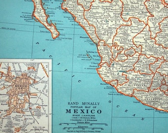 1937 Vintage Map of Mexico