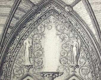 1845 Rare Large English Antique Print of British Architectural Gems. Westminster Abbey Church. Doorway in South Transept. Plate 5.