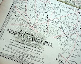 1911 Century Atlas Antique Map of North Carolina