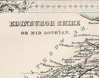 1862 Rare Vintage Map of Edinburgh Shire or Mid Lothian, Scotland - Handcolored