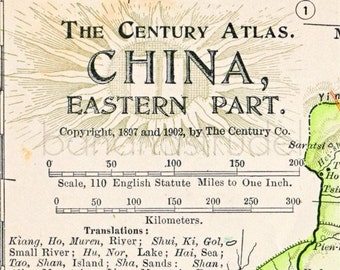 1902 Antique Map of China, Eastern Part - Antique China Map - Century Atlas - China Antique Map