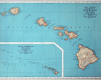 1937 Vintage Map of Hawaii - Hawaii Vintage Map