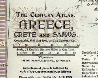 1902 Antique Map of Greece, Samos, and Crete - Greece Antique Map - Century Atlas
