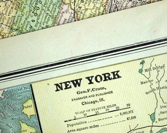 1888 Antique Map of New York State - New York State Antique Map - Large