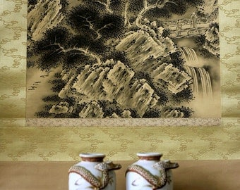 Vintage Handpainted Silk Scroll Japanese Landscape / Ready to hang