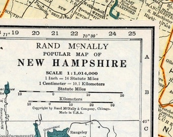 1937 Vintage Map of New Hampshire - Vintage New Hampshire Map - New Hampshire Vintage Map