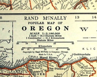 1937 Antique Map of Oregon