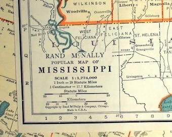 1937 Vintage Map of Mississippi - Mississippi Vintage Map