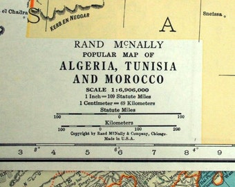 1937 Vintage Map of Algeria, Tunisia, and Morocco - Tunisia Vintage Map - Morocco Vintage Map