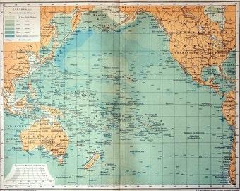 1895 Antique Map of the Pacific Ocean - Antique Pacific Ocean Map - German map - Pacific Ocean Antique Map