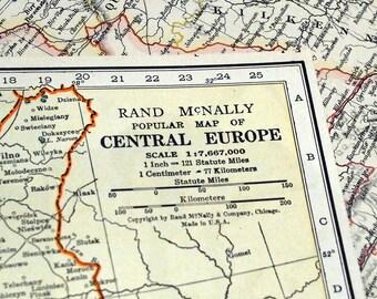 1937 Vintage Map of Central Europe - Europe Vintage Map - Albania, Czechoslovakia, Hungary, Poland, Yugoslavia, Romania, Lithuania, etc.