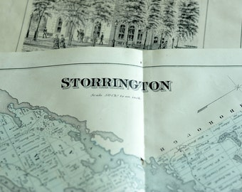 1878 Antique Map of the Township of Storrington, Ontario - Ontario Antique Map - Rare Large - Hand Coloured