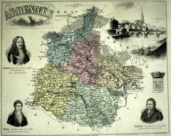 Antique Map of Ardennes, France - 1883 Illustrated Map - Hand-Coloured - Vintage Map - Home Decor