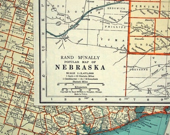 1937 Vintage Map of Nebraska - Vintage Nebraska Map - Nebraska Vintage Map