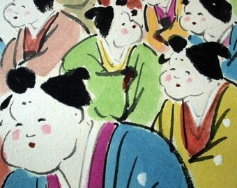 Vintage Handpainted Japanese Scroll of Colourful Children / Ready to hang