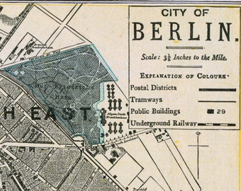 Antique Map of Berlin, Germany - 1892 Vintage Map - City Map