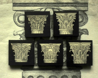 Decorative Wooden Blocks - Antique Owen Jones Column Designs - Set of 5 - Prints from 1865 - Gift for Her - Gift for Home