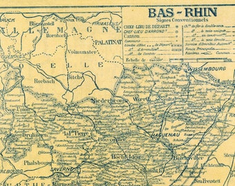 Ca. 1925 Vintage Petite French Back to Back Map of Bas-Rhin and Pyrenees-Orientales, France