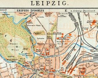 1894 German Vintage Map of Leipzig - Vintage City Map - Old City Map