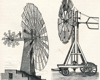 Antique Print of Windmills and Wind Turbines - 1894 German Engraving