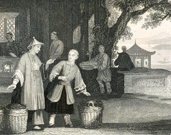 1851 Antique Steel Engraving of Chinese Tea, Silk, and Rice Vendors. Plate 23