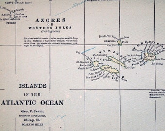 Antique Map of Bermuda - Canary Islands - Falklands - Azores - Islands in the Atlantic Ocean - 1888 Vintage Map