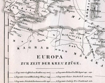 1851 German Vintage Map of Europe during the Crusades - Historical Map - Black and White