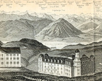 Long Antique Print of the Alps - Panorama from Mount Rigi, Switzerland - Rigikulm - 1891 Vintage Print - Panoramic View