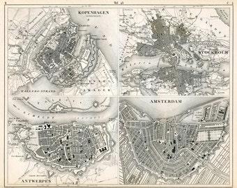 1851 German Vintage Map of European Cities. Copenhagen, Stockholm, Antwerp, Amsterdam - Vintage City Map - Old City Map - Black and White