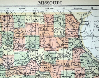 1890s Antique Map of Missouri - Missouri Antique Map - Antique Missouri Map