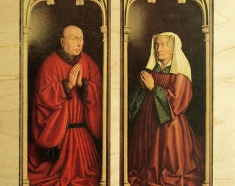 1964 Unusual Vintage Wooden Print Showing Details from the Ghent Altarpiece by van Eyck. A Word from the Sponsors