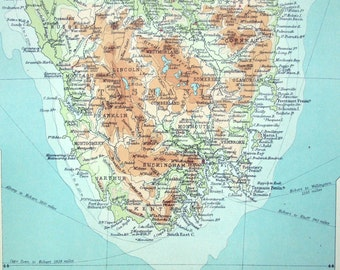 1922 Large Antique Map of Victoria and Tasmania, Australia. With Insets of the Environs of Melbourne and Hobart