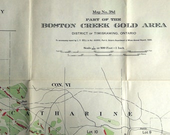 1929 Antique Map of the Boston Creek Gold Area, Timiskaming, Ontario - Ontario Antique Map - Boston Creek Gold Map - Timiskaming Map