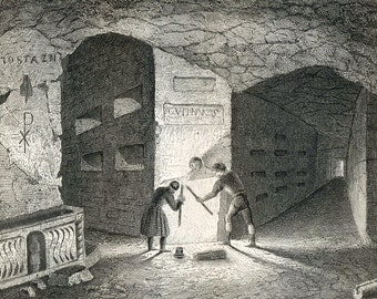 1851 Antique Print of Catacombs, Grottos, and Chapels