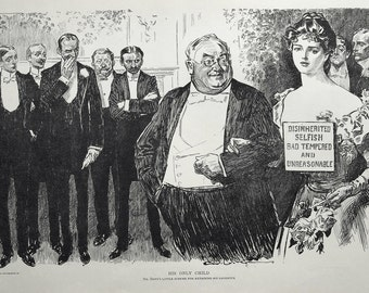 Gibson Girl - How to Keep Your Daughter - Humorous 1907 Antique Charles Dana Gibson Print