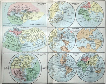 1895 German Antique Map of World Maps. The History of Geography, Part 1