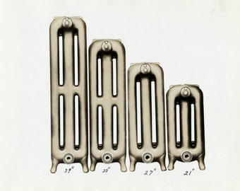 Antique Sepia Photograph of Radiators - Late 1800s to early 1900s Print from the Gurney-Oxford Foundry Co.