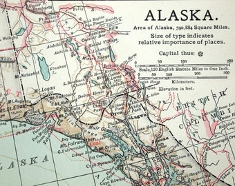 1903 Antique Map of Alaska - Alaska Antique Map - Antique Alaska Map
